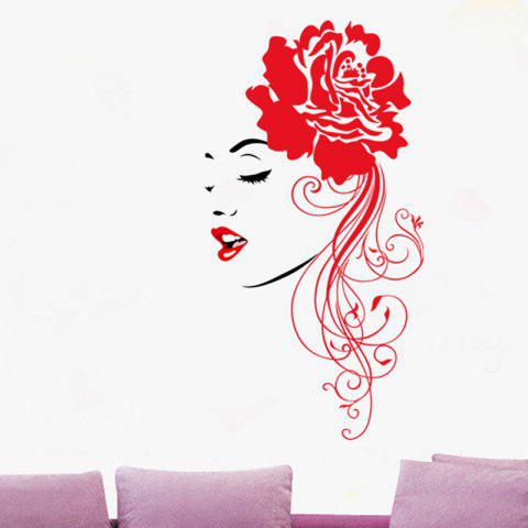 Flower Girl Pattern Removable Wall Sticker - multicolor 116X50CM