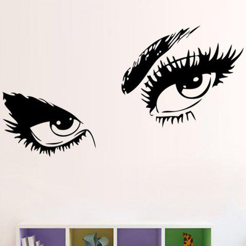 Charming Eyes Pattern Removable Wall Sticker - BLACK 42X39CM