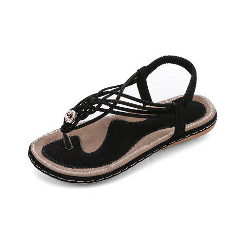 31cb39aaccaf 2019 Flat Bottom Fashion Pin Female Sandals A88 In BLACK EU 39 ...