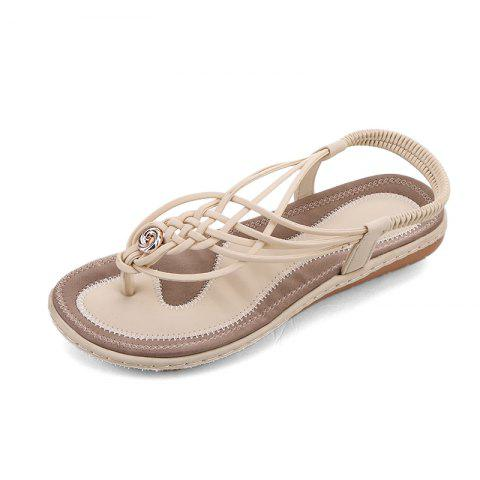 4ca4d6bed2a3 2019 Flat Bottom Fashion Pin Female Sandals A88 In BEIGE EU 35 ...