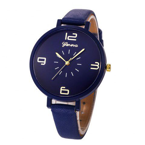 Fashion Large Dial Women Leather Strap Wristwatch Casual Sport Quartz Watch - multicolor B