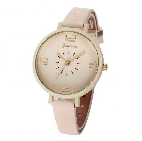 Fashion Large Dial Women Leather Strap Wristwatch Casual Sport Quartz Watch - multicolor D