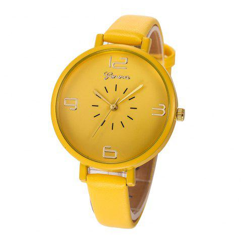 Fashion Large Dial Women Leather Strap Wristwatch Casual Sport Quartz Watch - multicolor H