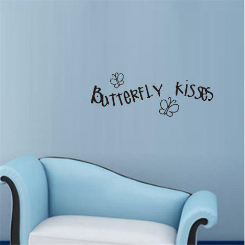 Butterfly Kisses Art Apothegm Home Decal Wall Sticker - BLACK 20.5*57CM