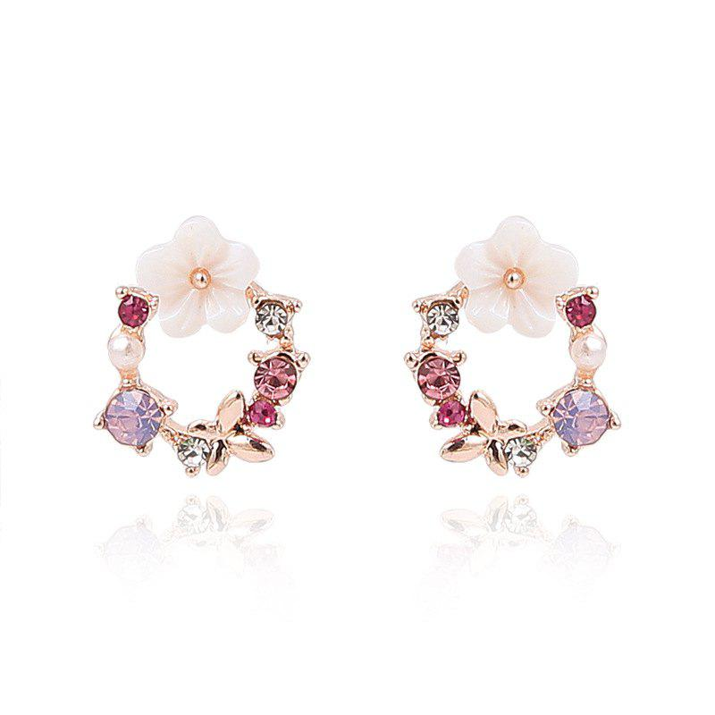 Sweet Color Diamond Shell Girl Butterfly Earrings - multicolor A 2 PAIRS