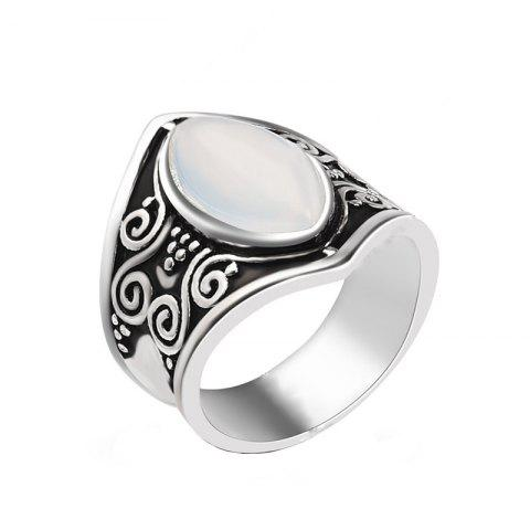 Creative New Carved Moonstone Exaggerated Punk Style Ring - SILVER US 10