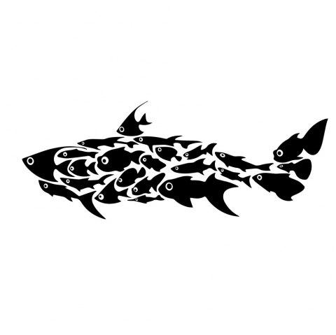 Creative Decorative Wall Sticker Removable Sticker for Small Fish and Fish Group - BLACK 20*58CM