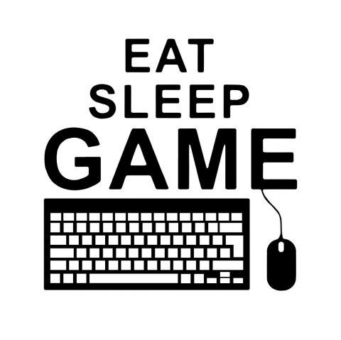 Eat Sleep Game Bedroom Wall Decoration Wall Sticker Removable Decoration - BLACK 41*42CM