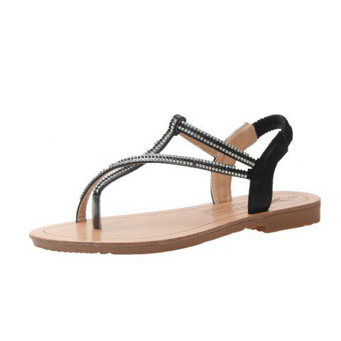 3eecd82c0512 2019 Fashion Simple Water Drill Pin Female Sandals A806-6 In BLACK ...