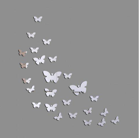 JM005 Butterfly Crystal Mirror Wall Sticker Acrylic Stereo Green Wall Stickers - SILVER