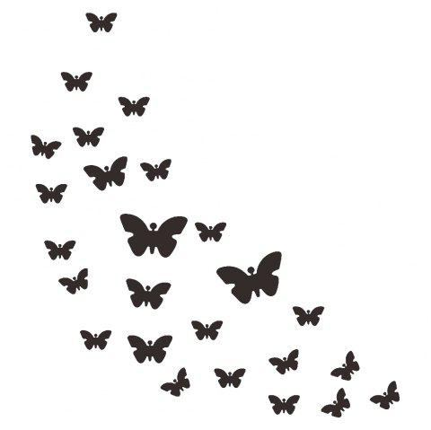 JM005 Butterfly Crystal Mirror Wall Sticker Acrylic Stereo Green Wall Stickers - BLACK