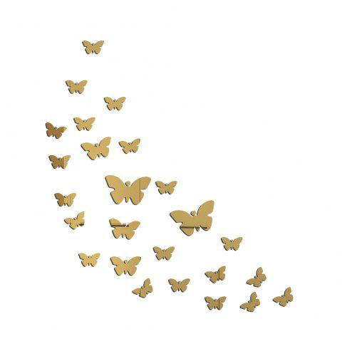 JM005 Butterfly Crystal Mirror Wall Sticker Acrylic Stereo Green Wall Stickers - GOLD