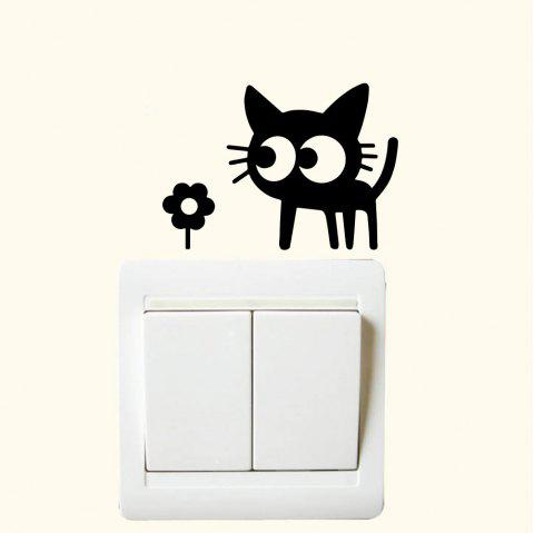 Lovely Kitten Flower Switch Sticker Living Room Bedroom Wall Decoration Sticker - BLACK 6.4*9CM