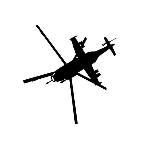 Helicopter Silhouette Sticker Home Wall Decoration Wall Sticker - BLACK 43*57CM
