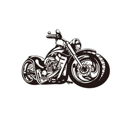 Creative Motorcycle Living Room Bedroom Wall Decoration Sticker Removable - BLACK 57*84CM