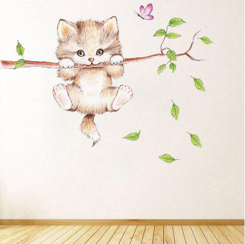 Cartoon Cat Branches PVC Wall Sticker - multicolor 70X25CM