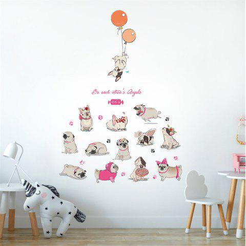 Cartoon Color Puppy Balloon Sticker Bedroom Wall Decoration Wall Sticker - multicolor A 50*70CM