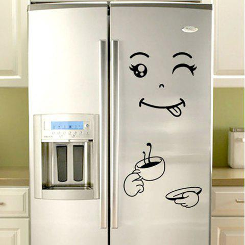 Creativity Happy Face Refrigerator Sticker PVC Waterproof Removable Wall Poster - multicolor C 20*28*0.1CM