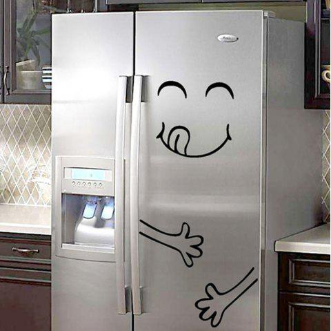 Creativity Happy Face Refrigerator Sticker PVC Waterproof Removable Wall Poster - multicolor A 20*28*0.1CM