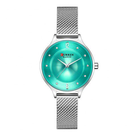CURREN Fashion Stainless Steel Mesh Watches Women Dress Rhinestone Quart Watch - multicolor E