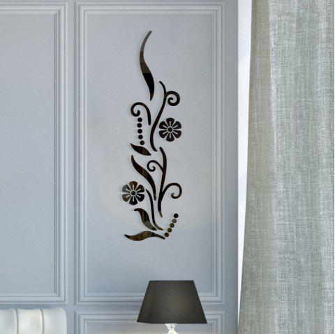 Home Background Decoration Petals Style Acrylic Mirror Wall Stick - BLACK 88*25*0.3CM