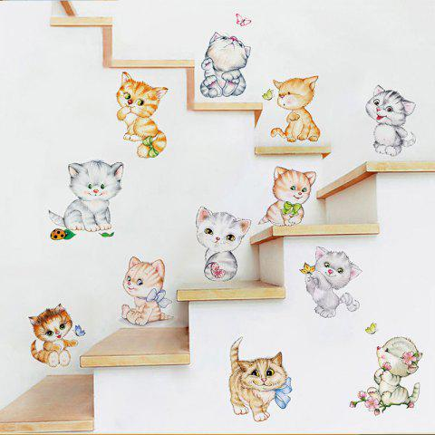 Cute Play Cat Wall Stickers Home Decorate - multicolor 60X45CM