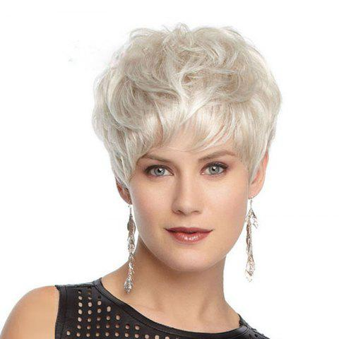 Short Hair Micro-Roll High Temperature Wire Wig - SILVER 1 SET