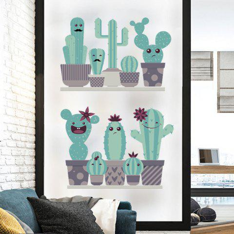 Facial Cactus Wall Stickers Home Decorate - multicolor (60X45)CM X 2PCS