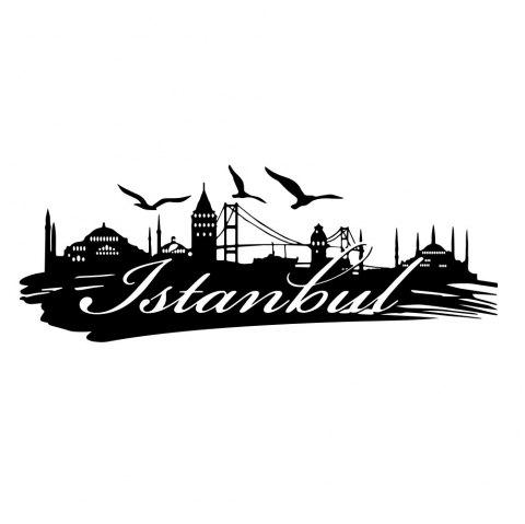 Istanbul Urban Silhouette Home Living Room Background Wall Decoration Sticker - BLACK 43*110CM