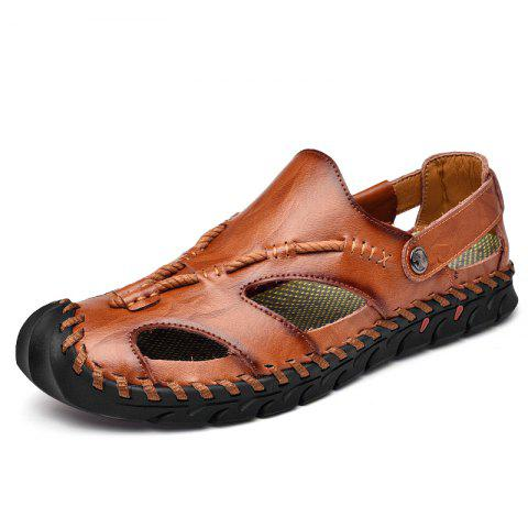 53c65636967 2019 Men S Genuine Leather Hand-Stitched Sandals In BROWN EU 40 ...