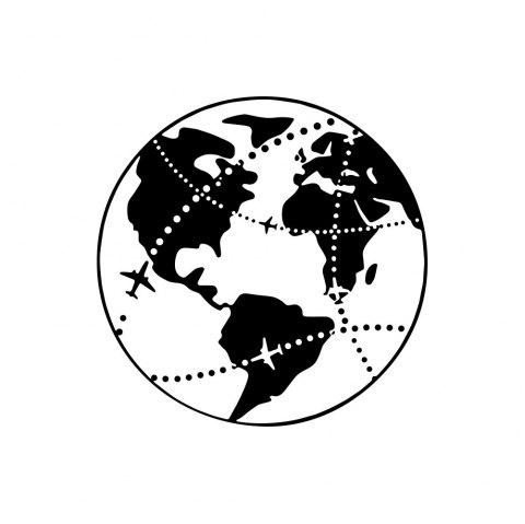 Travel Earth Aircraft Wall Adhering To The Background Wall Decoration Sticker - BLACK 42*42CM