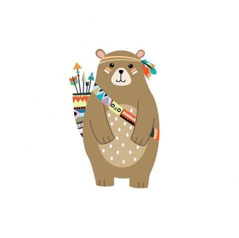 Indiana Style Hunting Bear Wall with Background Wall Sticker Removable - multicolor A 35*55CM
