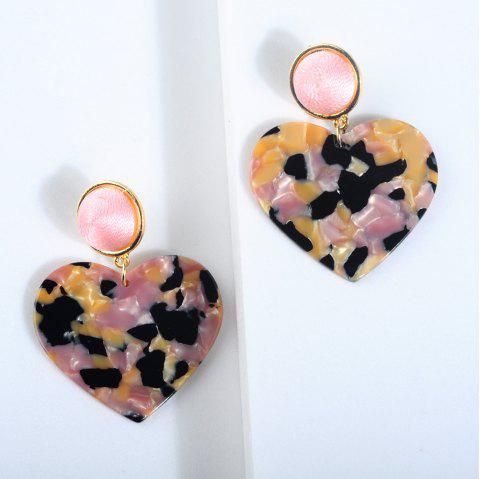 New Heart-Shaped Broken Flower Crystal Acrylic Plate Long Earrings - BLACK