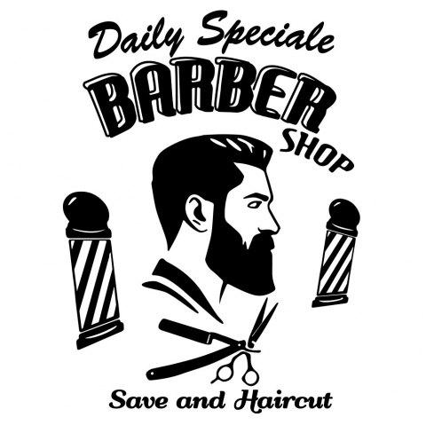 Barber'S Window Glass Decoration Label Stickers - BLACK 42*58CM