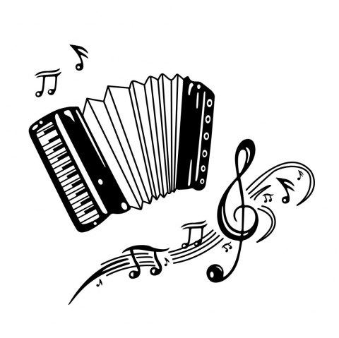 Accordion Music Note Wall Sticker Living Room Background Wall Decoration Sticker - BLACK 45*40CM