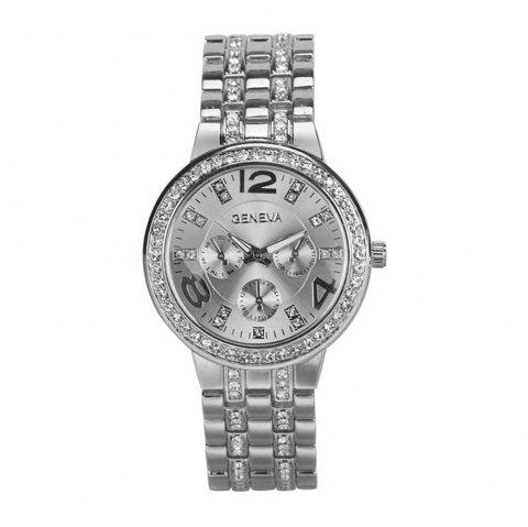 Bling Diamonds Quartz Watch for Ladies Fashion Stainless Steel Analog Watch - SILVER