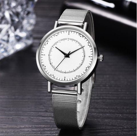 Fashion Mesh Band Women Watch Simple Stainless Steel Quartz Watch - multicolor A