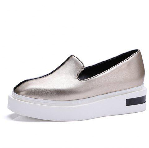 Ladies' New Summer Spindle Leisure Leafu Shoes with Thick Soles and Loose Pastry - CHAMPAGNE GOLD EU 37