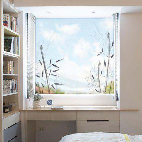 Ink Painting Bamboo Removable PVC Window Film Wall Sticker - multicolor 60X58CM