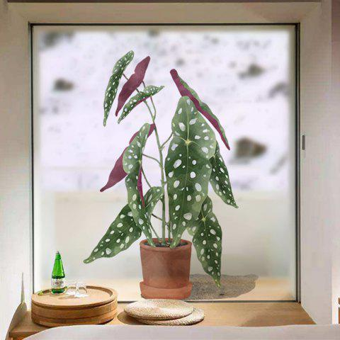 Green Potted Plants Removable PVC Window Film Wall Sticker - multicolor 60X58CM