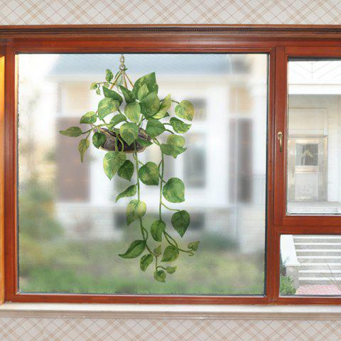 Fresh Hanging Basket Movable PVC Window Film Wall Sticker Matte - multicolor 60X58CM