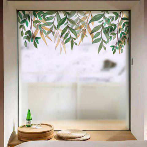 Fresh Leaves Removable PVC Window Film Wall Sticker Matte - multicolor 60X58CM