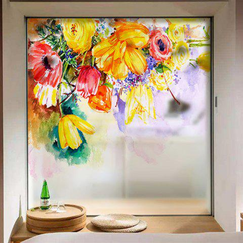 Color Flowers Movable PVC Window Film Wall Sticker Matte - multicolor 60X58CM