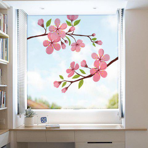 Blooming Flowers Movable PVC Window Film Wall Sticker Matte - multicolor 60X58CM