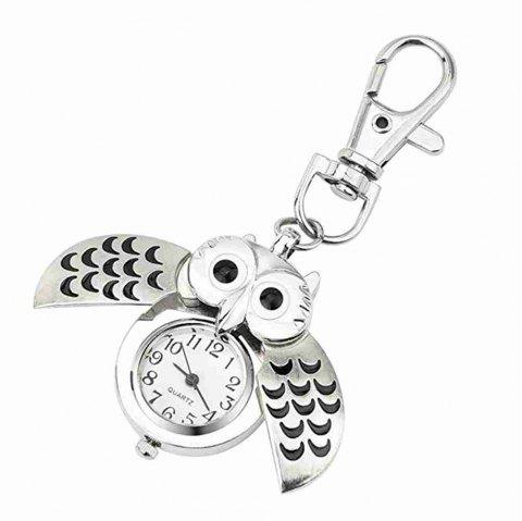 Owl Watch Keychain Clip Pocket Watch - SILVER