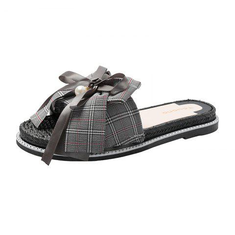 Outdoor Bow Thick Bottom Non-Slip Female Slippers - GRAY EU 39
