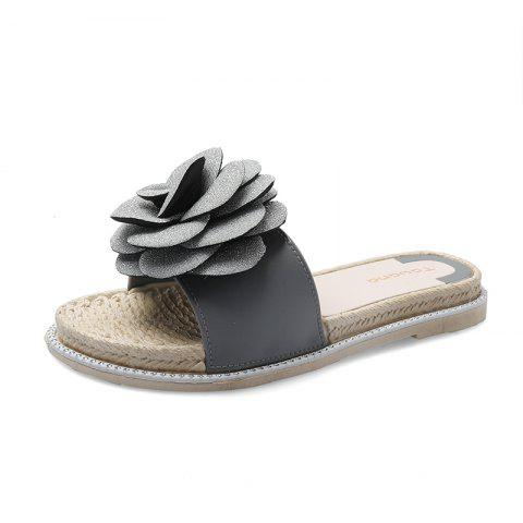 Flat Bottom Non-Slippery Fashion Wearing Flowers Word for Word Female Slippers - GRAY EU 39