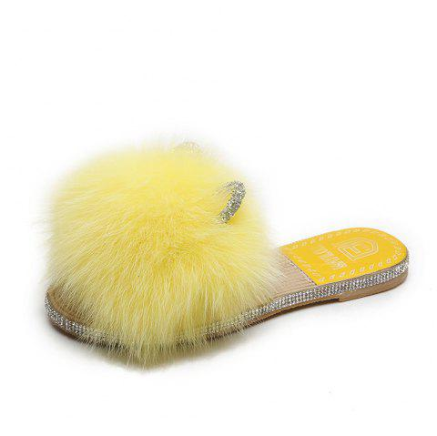 Flat Bottom Fashion Hairy Girl Slippers - YELLOW EU 38