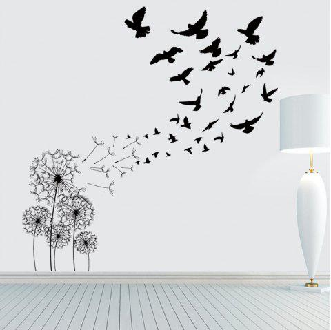 Dandelion Bird Removable PVC Wall Sticker - BLACK 20 X 28 INCH