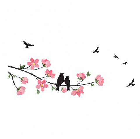The Branches Love Birds Removable PVC Wall Sticker - multicolor 70X25CM